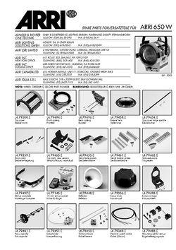 ARRI Junior 650 Replacement parts