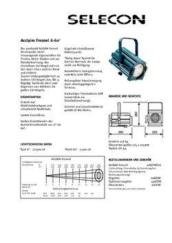 Selecon Acclaim Fresnel Datenblatt