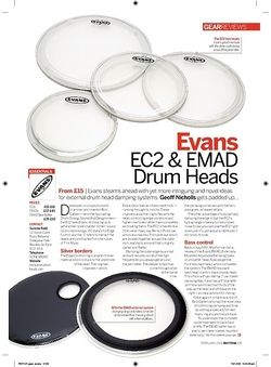 Rhythm Evans EC2 and EMAD Drum Heads