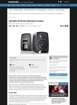 MusicRadar.com Genelec M Series Monitors