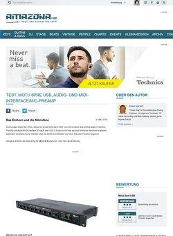 Amazona.de Test: Motu 8pre USB, Audio- und MIDI-Interface/Mic-PreAmp