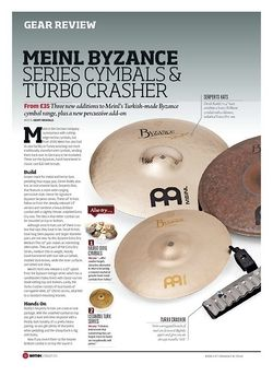 Rhythm Meinl Byzance Series Cymbals and Turbo Crasher
