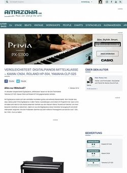 Amazona.de Vergleichstest: Digitalpianos Mittelklasse - Kawai CN34, Roland HP-504, Yamaha CLP-525