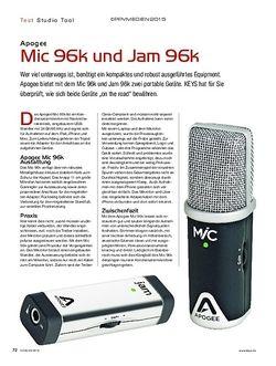 KEYS Apogee Mic 96k und Jam 96k