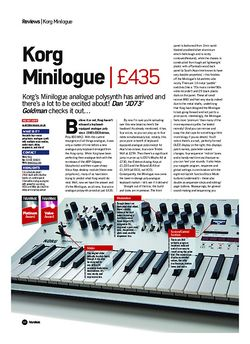 Future Music Korg Minilogue