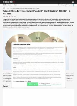 "Paiste 602 Modern Essentials 22""/24"", Giant Beat 26""/2002, 17"" Hi-Hat"