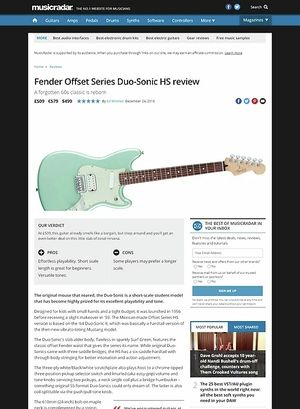 MusicRadar.com Fender Offset Series Duo-Sonic HS